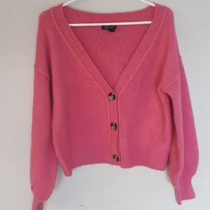 TOPSHOP Button Front Pink Cardigan - Size 4